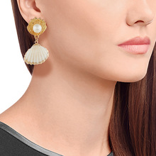 Lukeni 2019 New Fashion Gold Color Metal Shell Pearl Statement Drop Earrings For Women Summer Jewelry Brand Design Za