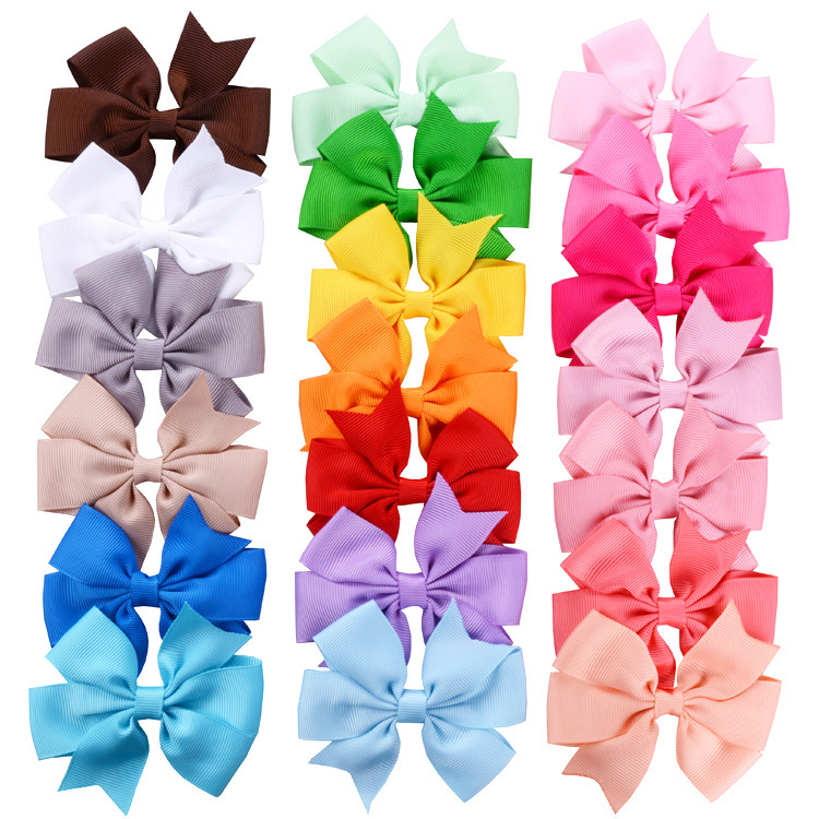 Fashion 20pcs/lot Grosgrain Ribbon Hair Bow With Clips Baby Girls Bow Hair Clip Hairpins Children Photo Props Hair Accessories