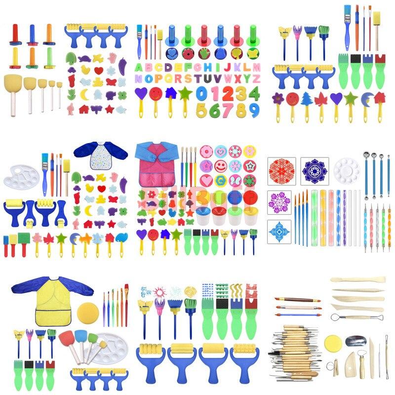 Bricolage enfants peinture mousse éponge brosse Sculpture argile tablier moules outils Kit enfants début Art éducation apprentissage dessin jouet cadeau