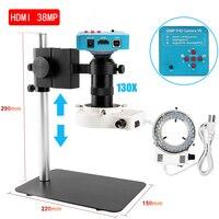 Microscopio Digital para soldadura electrónica, lente de luz LED para microscopio, cámara Full HD, 38MP, VGA, HDMI, USB, 130x