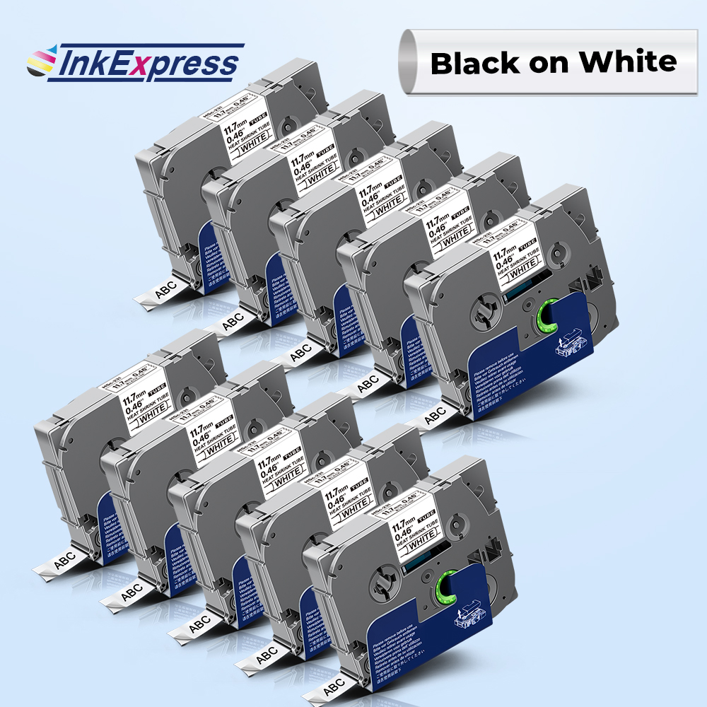 10PK For Brother hse tape Hse 231 hse231 hse 231 Heat Shrink Tube Label Tape Cartridge