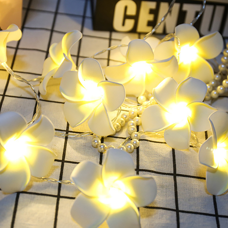 <font><b>10M</b></font> <font><b>100LED</b></font> Floral Frangipani String Fairy Light Outdoor Indoor Christmas Twinkle Garland Garden Wedding Party Bedroom Decoration image