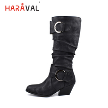 HARAVAL Vintage Woman Winter Mid-calf Boots High Quality Round Toe Spike Heel Shoes Solid Fashion Buckle Soft Warm B263