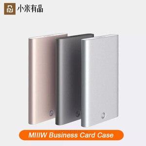 Image 1 - Xiaomi Youpin MIIIW – porte cartes, en acier inoxydable, argent, Aluminium, étui pour cartes de crédit, étui pour cartes didentité, porte monnaie de poche pour femmes et hommes