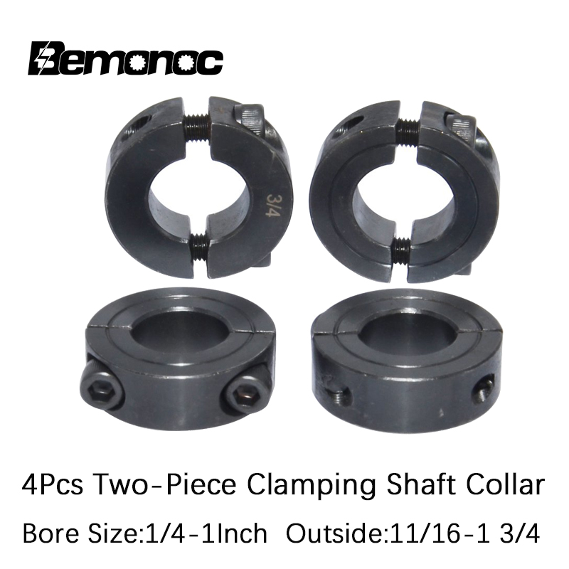 Bemonoc 4Pcs Two-Piece Clamping Shaft Collar 1/4 3/8 1/2 3/4 7/8 1