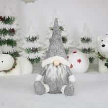 Delicate Cute Faceless Santa Claus Doll Sitting Pose Christmas Decorations Festive Party Supplies