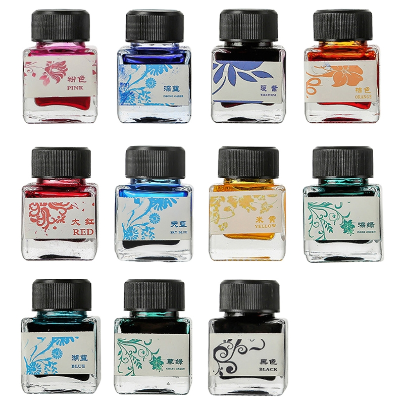 25ml Bottled Glass Smooth Writing Fountain Pen Ink Refill School Student Stationery Office Supplies 11 Colors