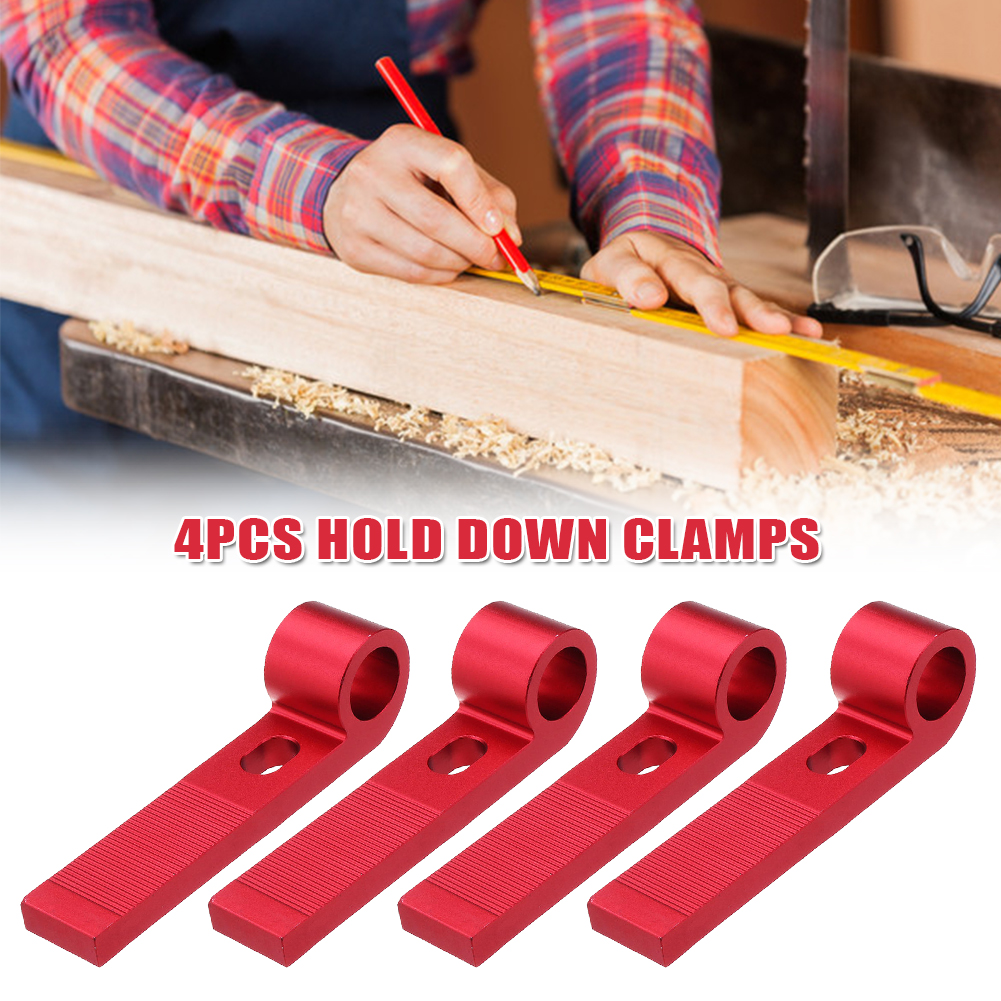 4pcs Universal Hold Down Clamp Slide Block Woodworking Tool Quick Acting <font><b>Aluminum</b></font> Alloy <font><b>T</b></font>-Slot Plate <font><b>T</b></font> <font><b>Track</b></font> Metalworking Miter image