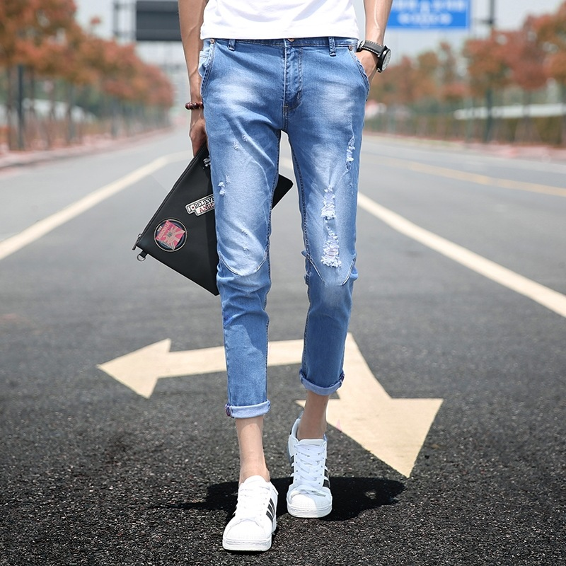 Autumn Clothing Korean-style New Style Men's Slim Fit Skinny Pants Elasticity With Holes Fashion Youth Handsome Capri Jeans Fash