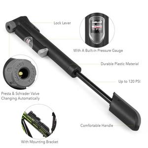 Image 5 - Mini Bike Pump Bicycle Pump High Pressure Air Pump Built in Pressure Gauge Puncture Repair Kit Fits for Presta Schrader Valve