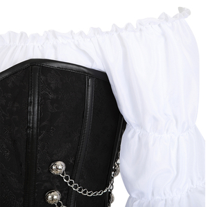 Image 2 - Corset jupe 3 pièces cuir robe bustiers corset steampunk pirate lingerie corsetto irrégulier burlesque grande taille noir marron