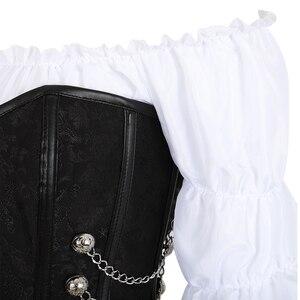 Image 2 - corset skirt 3 piece leather dress bustiers corset steampunk pirate lingerie corsetto irregular burlesque plus size black brown