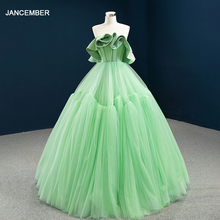 цена на J67012 JANCEMBER Grass Green Elegangt Simple Evening Party Dresses Strapless Ruffles Sleeveless Ball-Gowns вечерние платья