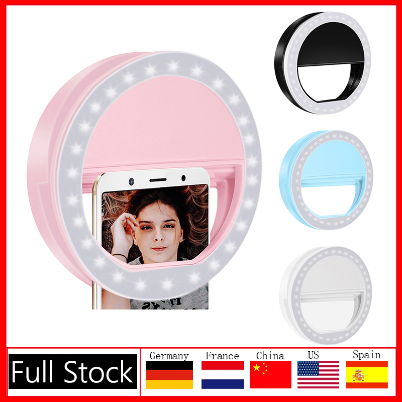 1/2pcs Universal Selfie LED Ring Flash Lumiere Telephone Portable LEDS Selfie Lamp Luminous Ring Clip For Cell Phone Smartphone