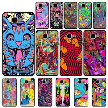 YNDFCNB Colourful Psychedelic Trippy Art Soft Black Phone Case for Samsung A6 A8 Plus A7 A9 A20 A20S A30 A30S A40 A50 A70 image