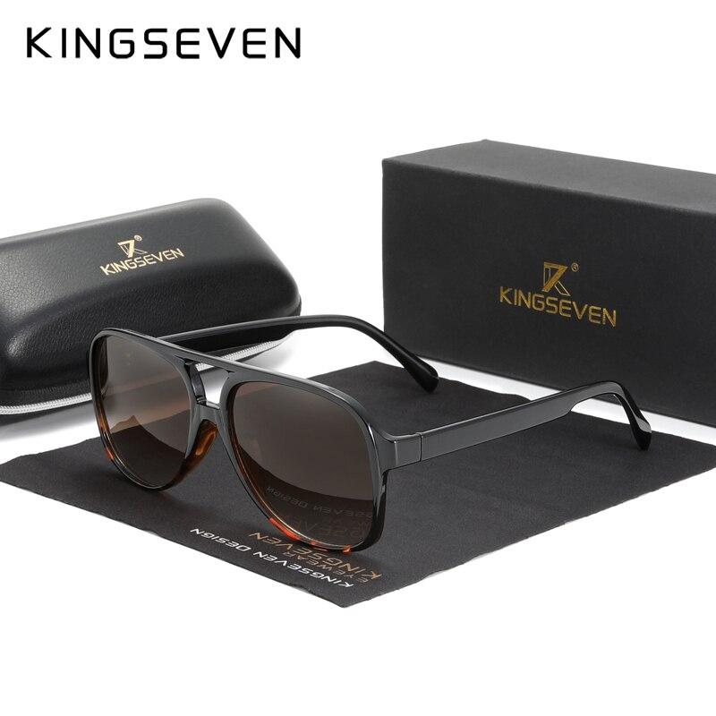 KINGSEVEN брендовые Квадратные ретро градиентные поляризованные солнцезащитные очки для женщин и мужчин из углеродного волокна с узором, спорт...