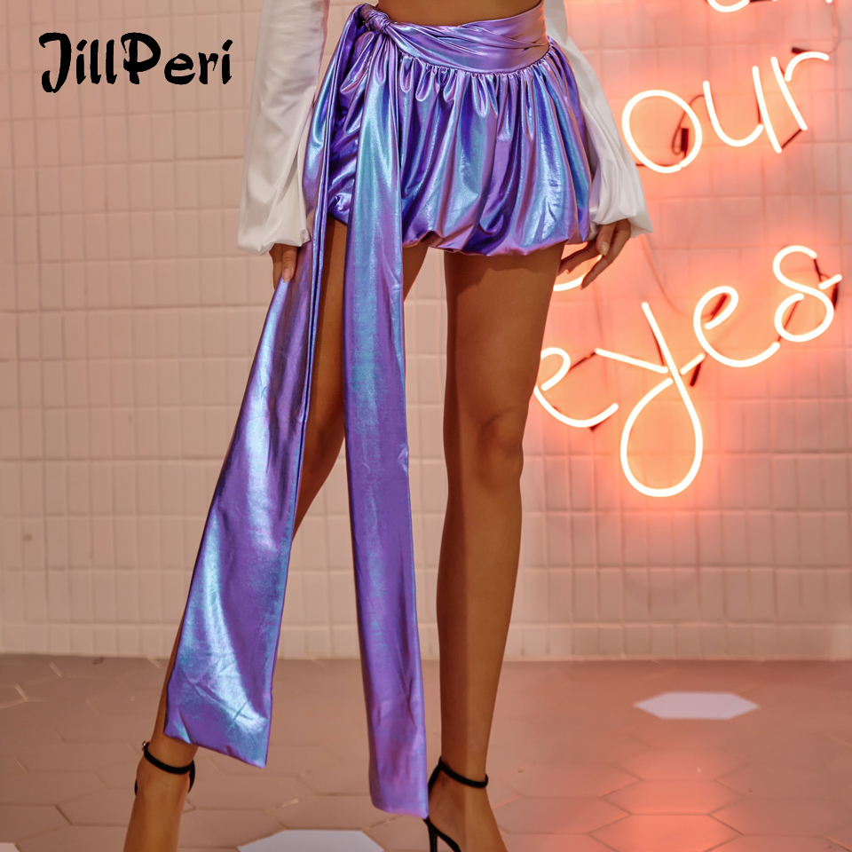JillPeri Mid Waist Luxury Metallic Lantern Shorts With Long Drops Sexy Ultra Short Puff Party Club Wear Bottoms Mini Shorts