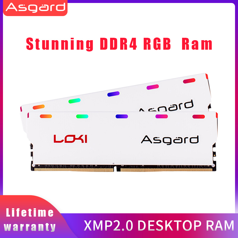 Asgard W1 series RGB <font><b>RAM</b></font> <font><b>Memoria</b></font> 2X8GB 16GB <font><b>DDR4</b></font> <font><b>3200MHz</b></font> 1.35V for Desktop DIMM Dual-channel image