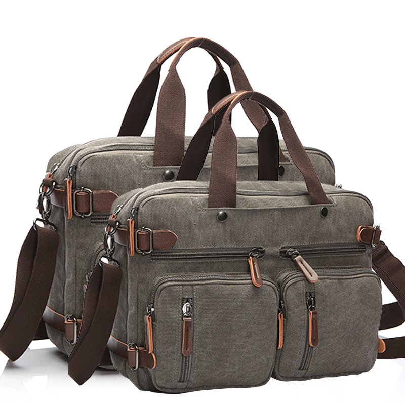 Men Canvas Bag Leather Briefcase Travel Suitcase Messenger Shoulder Tote Handbag Large Casual Business Laptop Bag