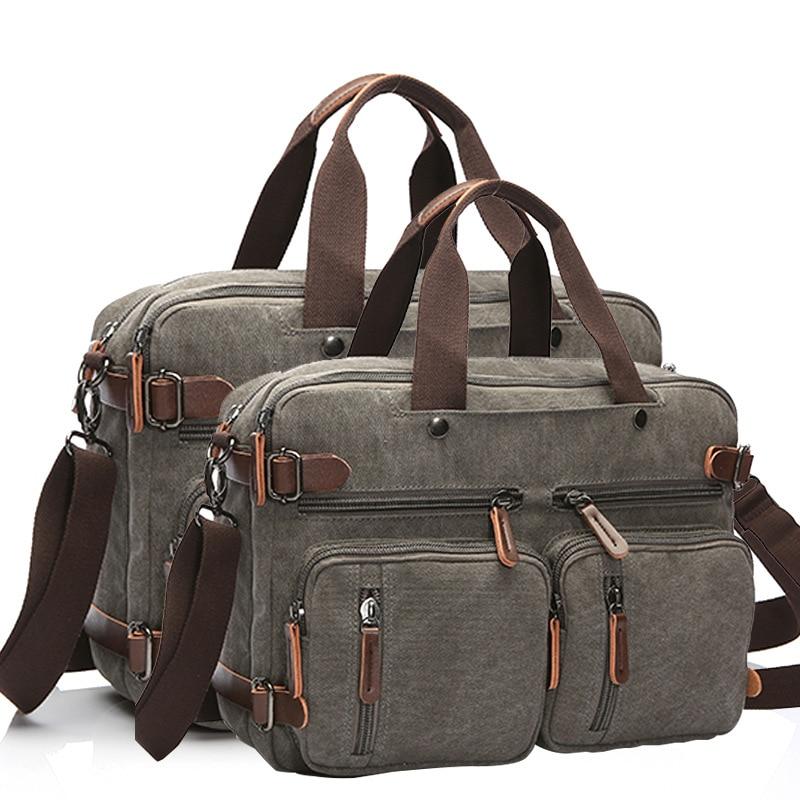 Men Canvas Bag Leather Briefcase Travel Suitcase Messenger Shoulder Tote Handbag Large Casual Business Laptop Bag