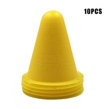 Recém 10 pçs marcador de treinamento de futebol sinal balde cone estrada obstáculos roadblocks fif66
