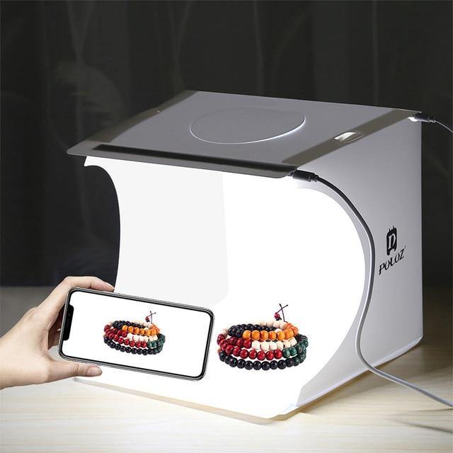 พับแบบพกพาสตูดิโอถ่ายภาพกล่อง Dual LED แผง Softbox 6 ฉากหลังแสงกล่องสตูดิโอถ่ายภาพเต็นท์กล่องชุด