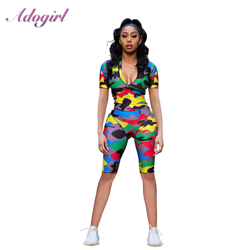 Camo Print Zipper Up Playsuit Women 2020 Spring Short Sleeve V Neck  Jumpsuit & Rompers Female Outfit Fitness Overalls Tracksuit