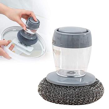 strong Import List strong Skrobaczka do naczyń szczotka do dłoni z dozownik do mydła zestaw podkładka do czyszczenia Pot Scrubber Metal gąbka domowe sprzątanie kuchni pędzle tanie i dobre opinie VOEAEL CN (pochodzenie) Kitchen Soap Dispensing Palm Brush Ręcznie Wash Clean Tool KİTCHEN Z tworzywa sztucznego Ekologiczne