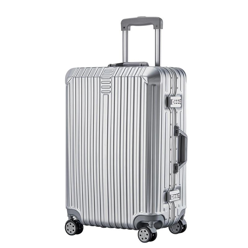 Super moda nueva maleta de viaje maleta de negocios caja de la carretilla En la rueda de aluminio marco duro maleta silenciosa - 2