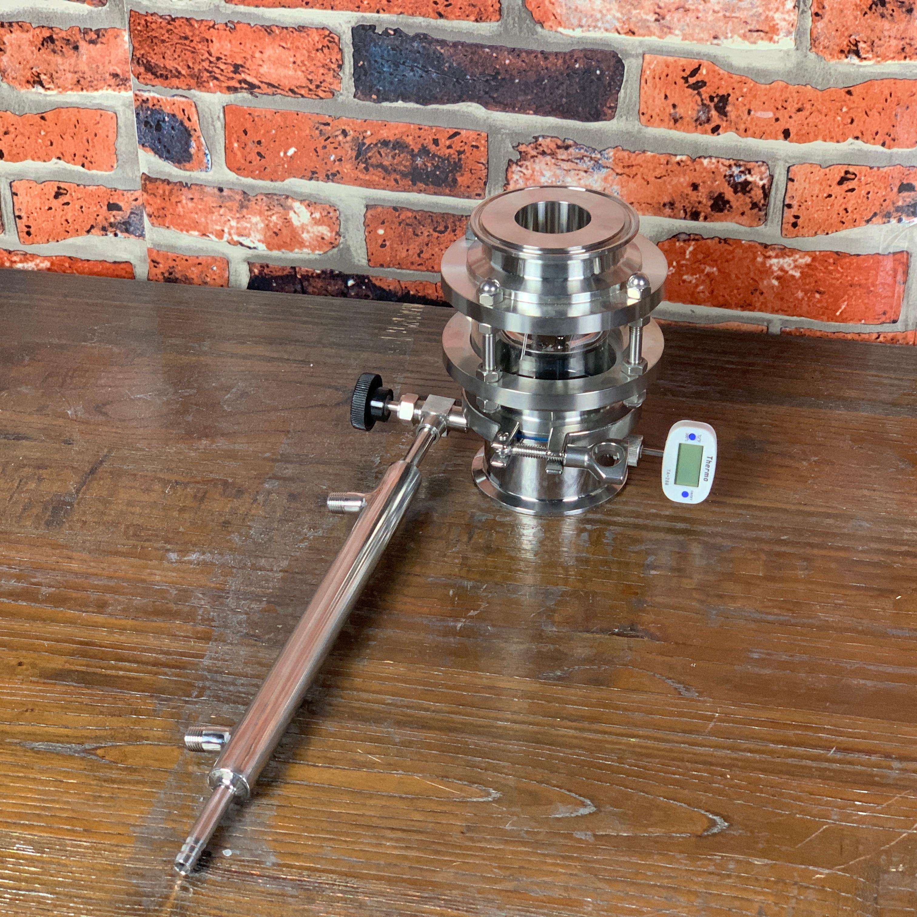 "3"" 76mm OD91mm  Sight Glass Rectification Module With Condenser, Reflux Column , Distillation , Sanitary Steel 304"