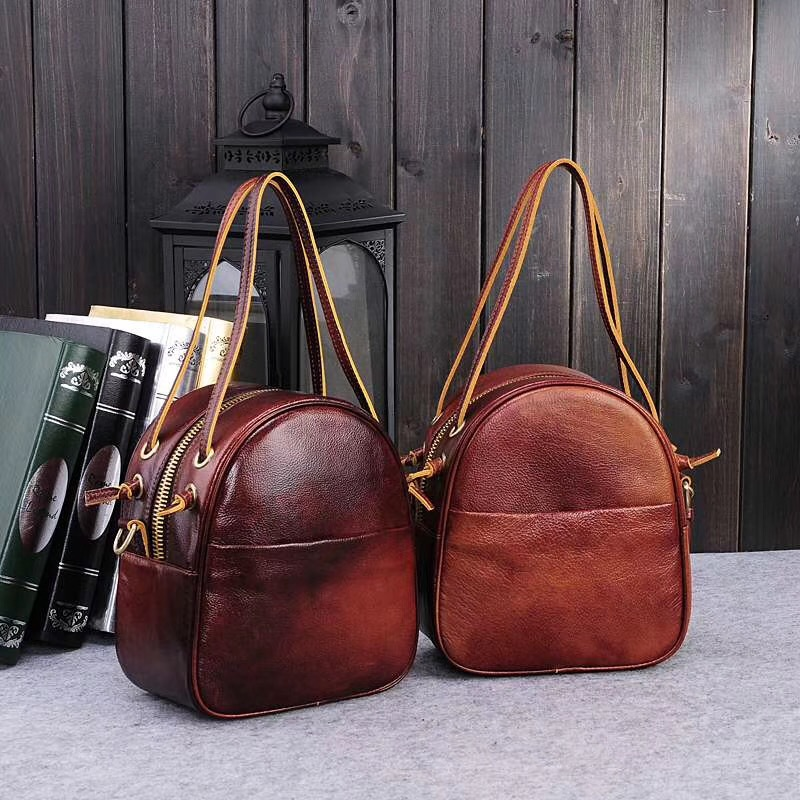 New leather women's bag vintage ladies one-shoulder bag head layer leather hand-held one-shoulder diagonal cross woman bag