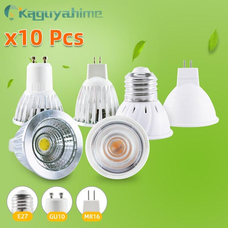 =(K) lâmpada led mr16, holofote e27, 10 peças, gu10, 7w, 6w e 3w, spot de luz lâmpada bombillas ac 220v de mesa brilhante alta