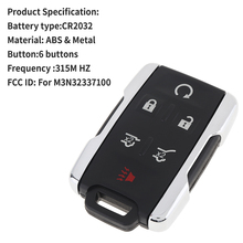 6Buttons Car Remote Key FOR CHEVROLET TAHOE SUBURBAN 2015 2016 2017 2018 2019 Entry Control Remote Key 315Mhz M3N32337100