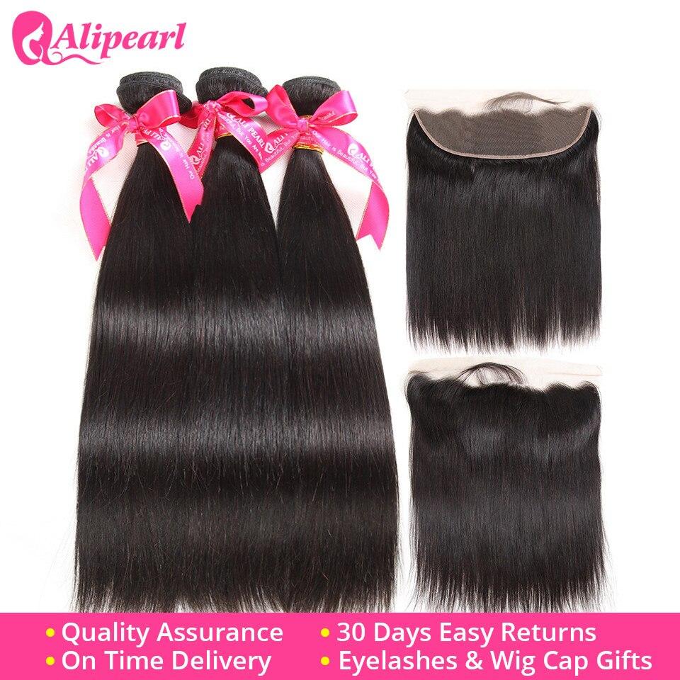 Hd7db7b8fed454c3c8eefa338b5a53256B Brazilian Straight Human Hair Bundles With Lace Frontal Closure Pre Plucked 13x6 Lace Frontal With 3 Bundles Remy AliPearl Hair