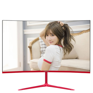 "HUGON 23.8 inch Game Competition Curved Widescreen IPS/Led 24"" Gaming Monitor 75Hz HDMI/VGA input White/Red Monitor(China)"