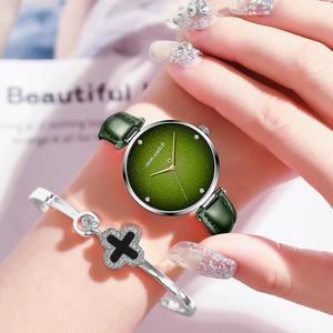 Image 4 - DOM Top Luxury Fashion Female Quartz Wrist Watch Elegant Green Women Watches Leather Waterproof Clock Girl Pattern Watch G 1292
