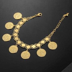 Image 3 - Женский браслет в виде Соединённых золотых монет, мужской браслет золотого цвета в турецком стиле, ювелирные изделия из фетра, африканские, мусульманские, мусульманские, арабские браслет, свадебные подарки