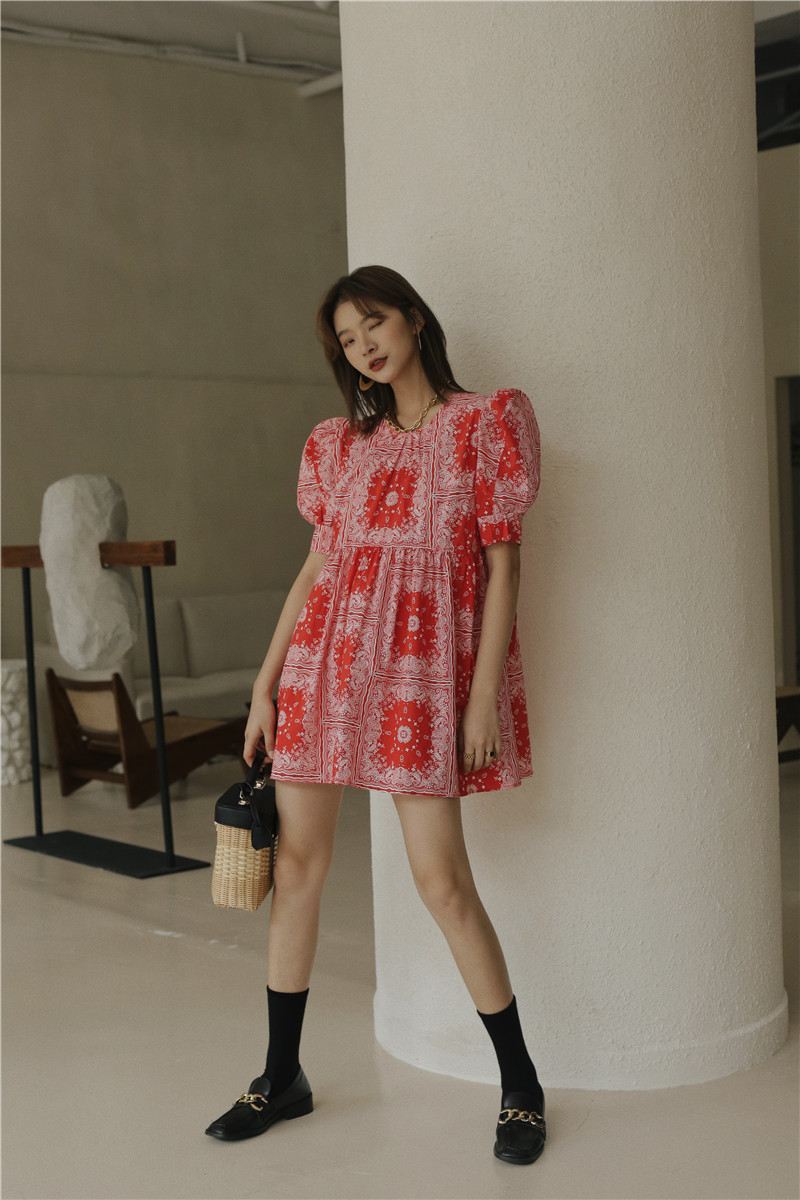 Vintage Red Puff Sleeve Summer Dress