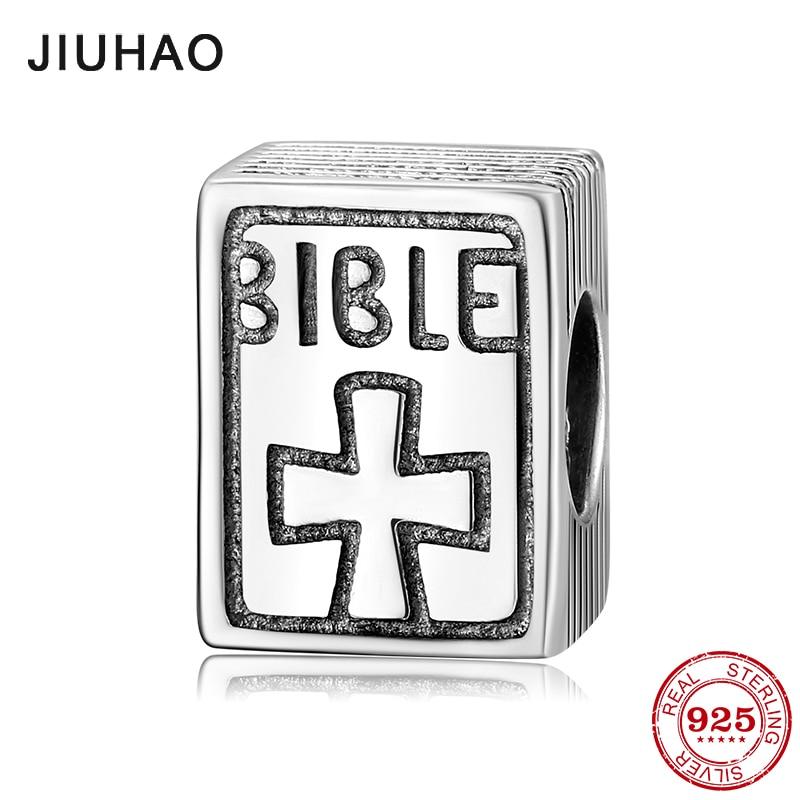 Real 925 Sterling Silver Cross Faith Bible Book Beads Fit Original Pandora Charm Bracelets Fine Jewelry Making
