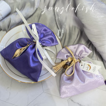 Purple Tie Drawstring Wedding Banquet Sugar Box Shiny Cloth Bag Party Favors Wedding Decor Candy Jewelry Storage Bags 10pcs(China)