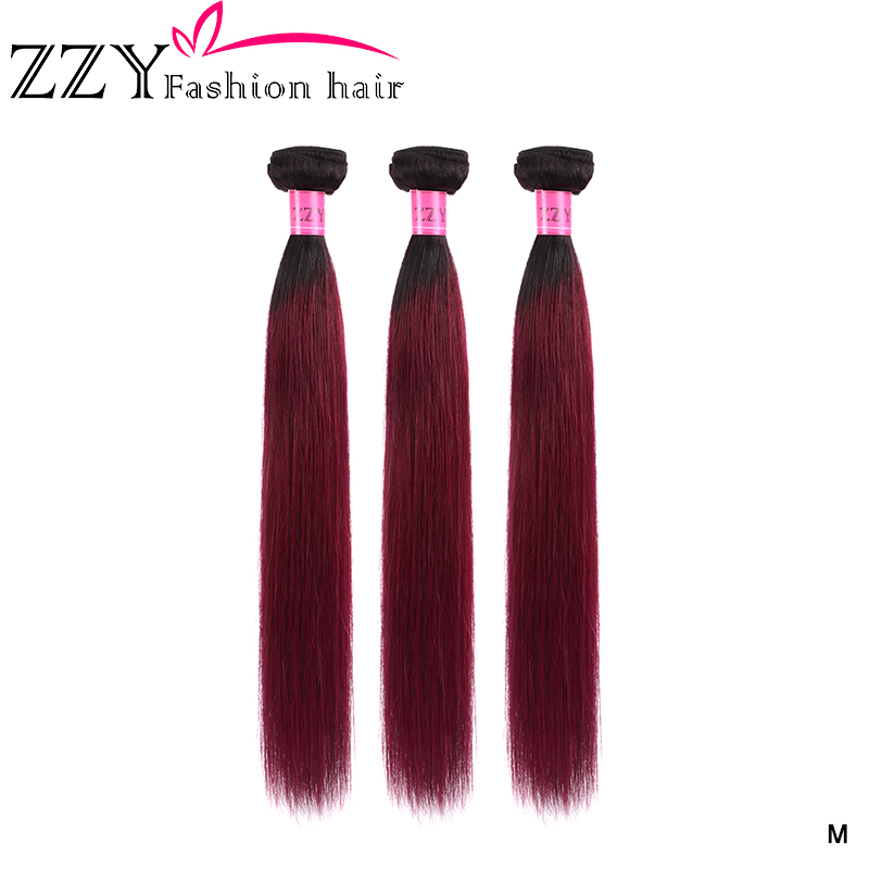 ZZY Fashion Hair Brazilian Straight Hair Ombre Non-remy Human Hair Weave Bundles T1B99J Burgundy Black Red Ombre