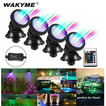 WAKYME 1 Set 4 light Underwater Spot Light RGB 36 LED Waterproof IP68 Swimming Pool Fountains Pond Water Garden Aquarium 12v led underwater light waterproof rgb underwater lamp swiming pool garden fountains pond water fish tank aquarium spot lights