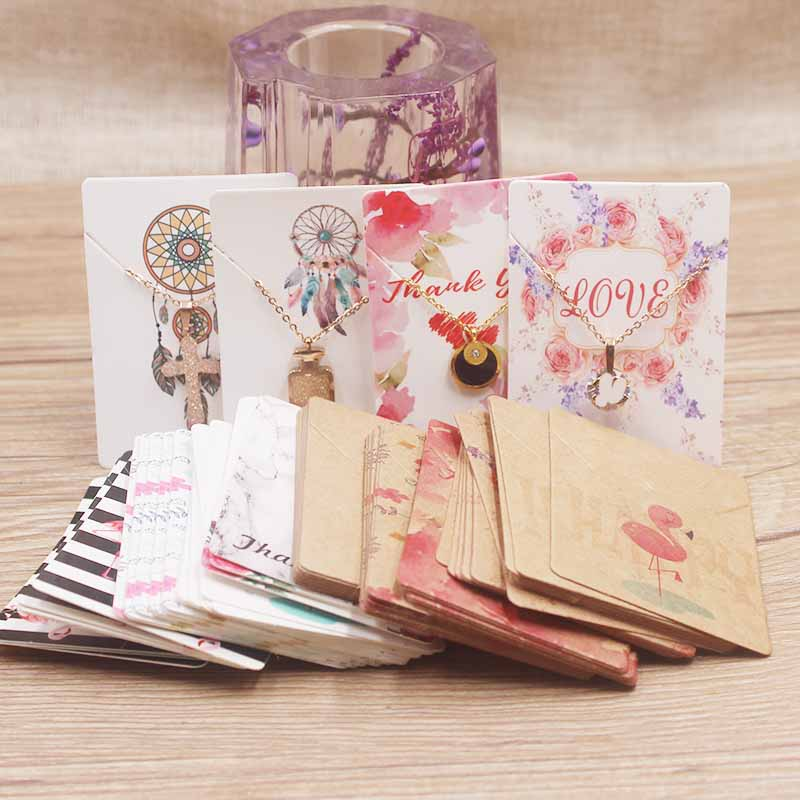 20pc Newest Vintage Kraft Necklace Pendant Package Card DIY Handmade Flower/marble Style Jewelry Charms Paper Display Tag Card
