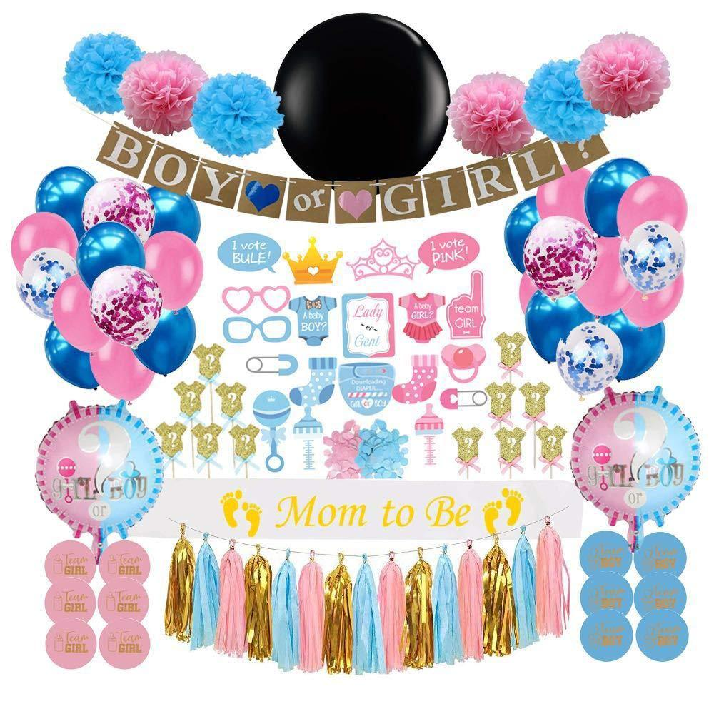 Baby Shower Gender Reveal Party Decoration Luxury Kit Confetti 36inch Black Boy Or Girl Latex Balloon Banner Cake Decor Supplies