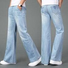 Мужские новые летние тонкие широкие джинсы светло-голубые брюки