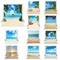 Фон для фотосъемки с изображением морского пляжа песка облачного голубого неба Летняя Пляжная фотография для фотостудии тропические пальм...