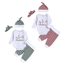 цена на Newest Autumn Baby Boy Girl Christmas Long Sleeve Letters Romper Stipend Trousers Hat Headband Outfits Set