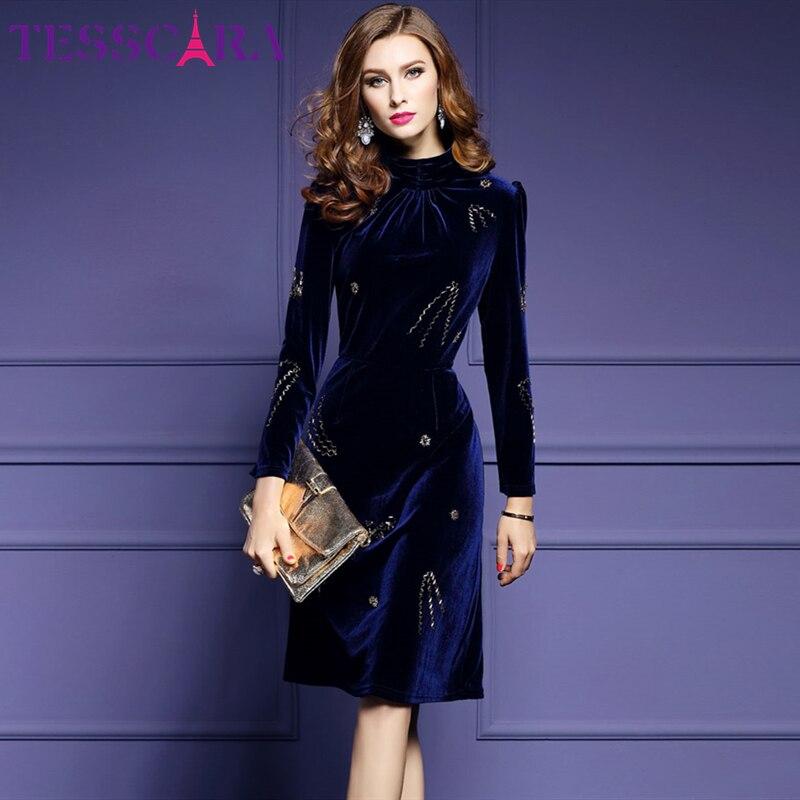 TESSCARA Women Autumn Winter Luxury Beading Velvet Dress Female Designer Turtleneck Retro Robe Femme High Quality