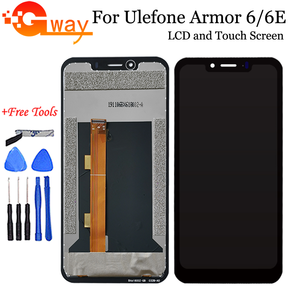 6.2'' For Ulefone Armor 6 6E LCD Display+Touch Screen Digitizer Assembly For Ulefone Armor6 Phone Accessories+Tools + Adhesive