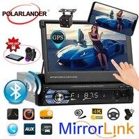 7 inch Stereo Bluetooth USB/AUX/SD Touch Screen Head Unit 1DIN Car Radio GPS Navigation Camera Mirror Link Autoradio Retractable